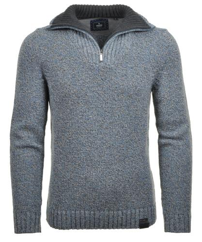 RAGMAN Tweed-Pullover mit Troyer und Zip