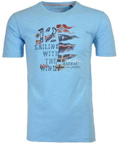 RAGMAN Rundhals-T-Shirt mit flag Print