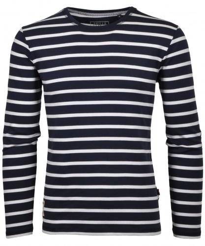 Gestreiftes RAGMAN Langarm-Shirt Rundhals
