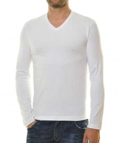 Langarm Shirt mit V-Ausschnitt, Body Fit