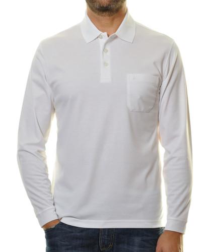 RAGMAN langarm Poloshirt Softknit Weiss-006