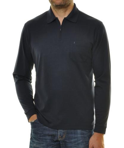 RAGMAN Softknit-Poloshirt Langarm mit Zip