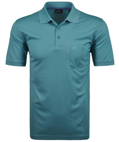 RAGMAN Kurzarm Softknit Poloshirt Aqua