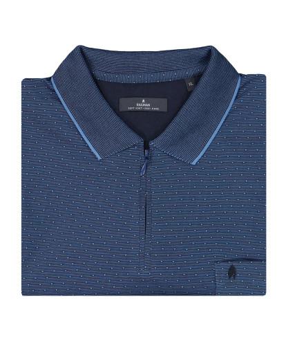 Softknit Poloshirt mit Minimal-Dessin und RV Marine-070