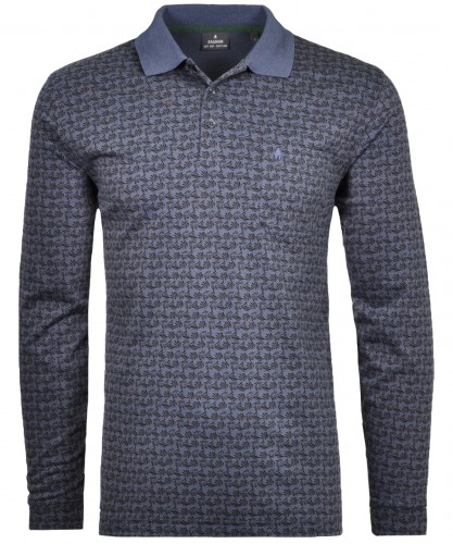 Softknitpolo mit Alloverprint, Langarm