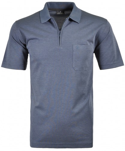 RAGMAN Softknit-Polo with zip and fine stripes