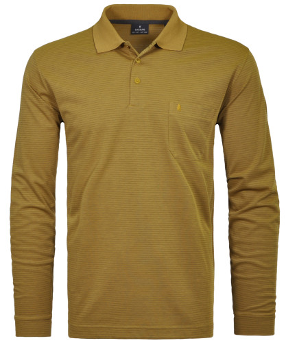 RAGMAN Softknit-Polo Fineliner, Langarm Curry-508