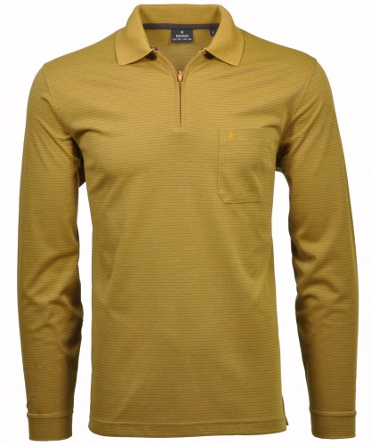 RAGMAN Softknit-Polo Fineliner mit Zip Curry-508