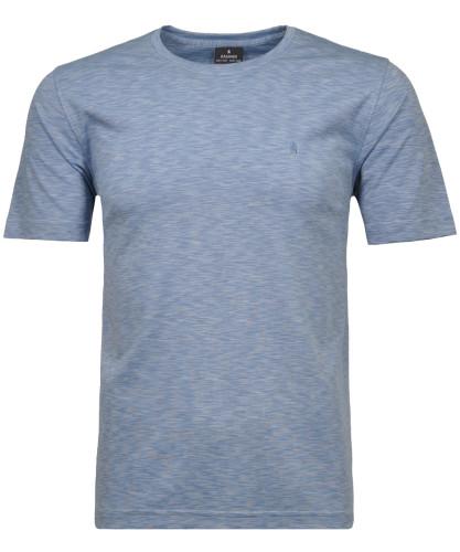 Softknit-T-Shirt mit Rundhals und Flamm-Optik Blau-Melange-707