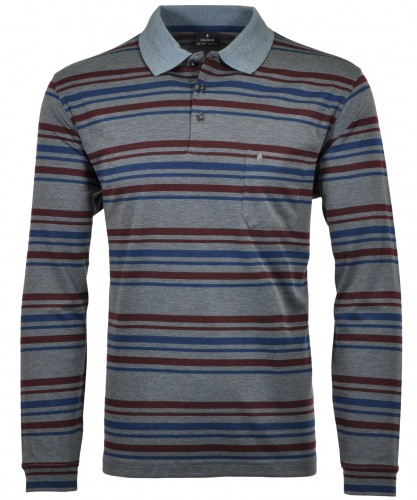 RAGMAN Softknit-Polo gestreift, Langarm