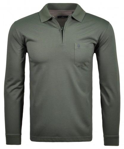 RAGMAN langarm Poloshirt mit feinen Streifen