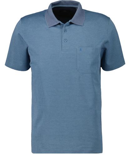Softknit Poloshirt mit minimal Dessin Blau-718