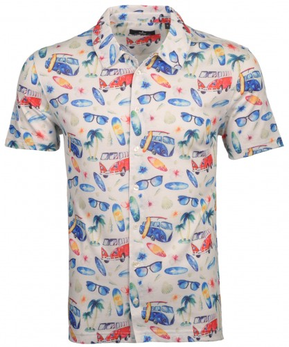 Softknit-Hemd kurzarm mit Alloverprint