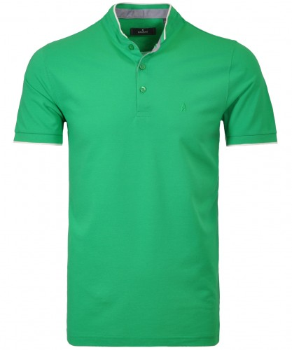 Polo with mock and neck tipping