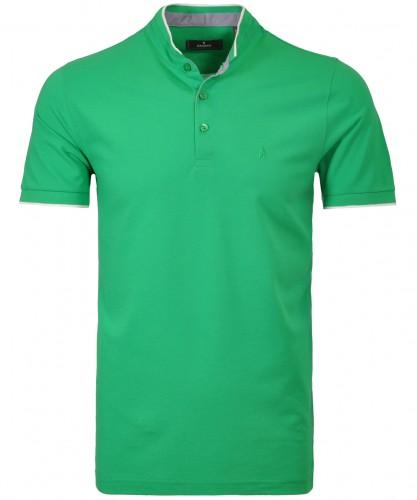 Piqué-Poloshirt mit Stehkragen und Tipping