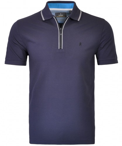 Piqué-Polo with zip and tipping