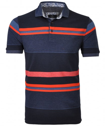 Striped Polo with denim collar