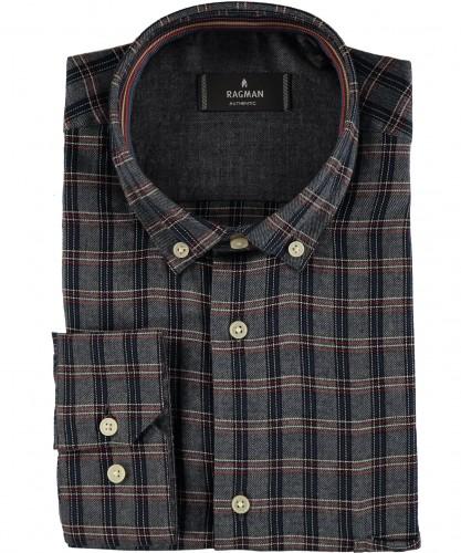 RAGMAN Shirt check with button-down collar