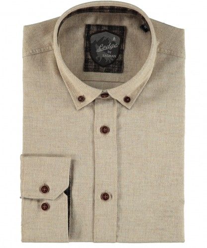 RAGMAN Hemd uni mit Button-down-Kragen