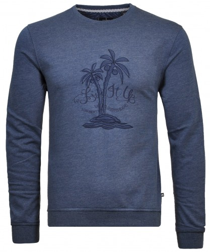 Sweater round neck with chest artwork