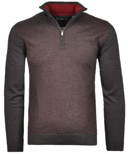 Knitted Sweater Jacquard with stand up collar Anthracite-019