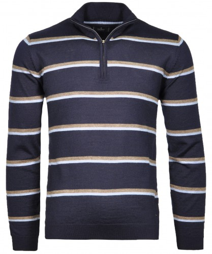 Knitted Sweater with stripes and stand up collar Navy-070