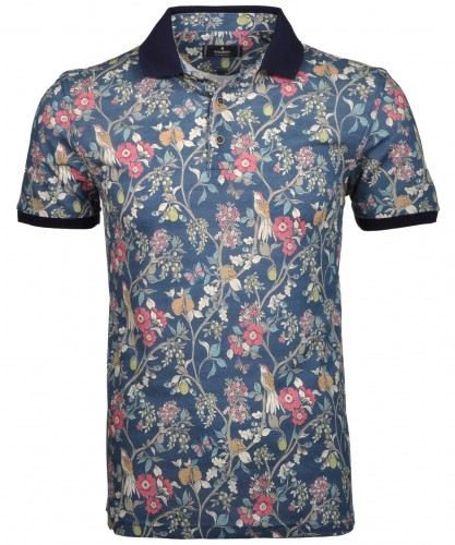 Polo-Shirt mit Allover-Druck Blau/Floral-900