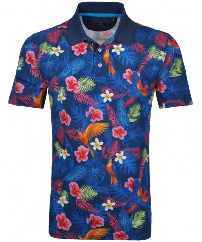 Poloshirt mit Hawaii alloverprint