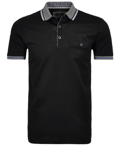 RAGMAN Polo solid with contrast details, mercerized