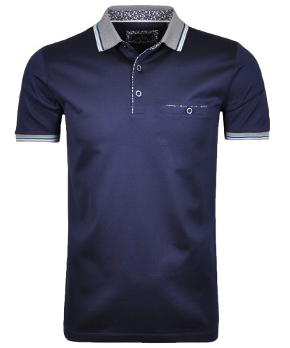 RAGMAN Polo solid with contrast details, mercerized Navy-070