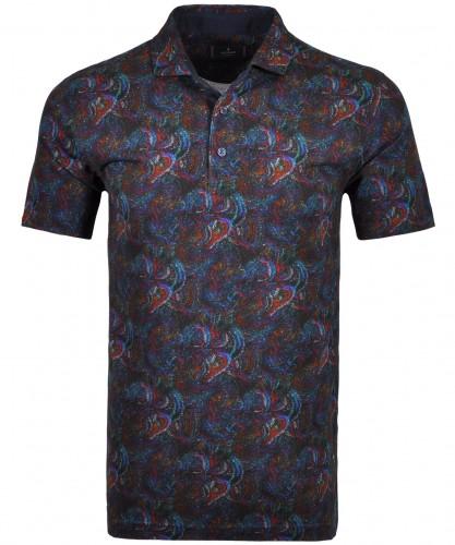 Alloverprint-Poloshirt mit Knöpfen Blau