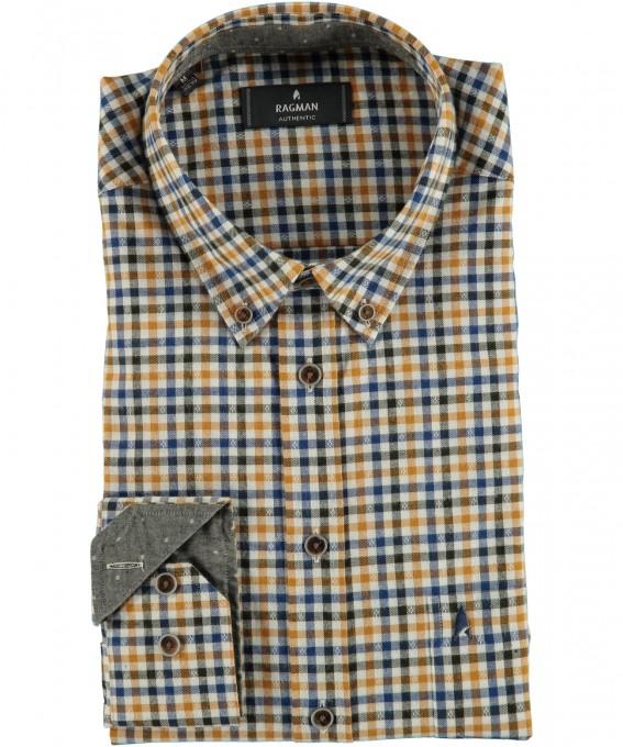 RAGMAN Oberhemd mit Button Down Kragen